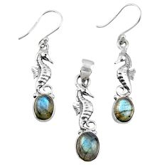 7.62cts natural blue labradorite silver seahorse pendant earrings set r55756