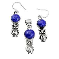 12.04cts natural blue lapis lazuli 925 silver owl pendant earrings set r20981