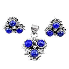 Clearance Sale- 8.89cts natural blue lapis lazuli 925 silver pendant earrings set d44430