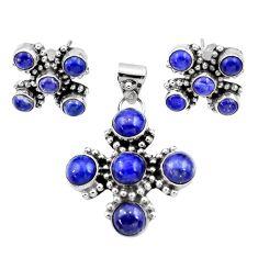 Clearance Sale- 9.92cts natural blue lapis lazuli 925 silver pendant earrings set d44472