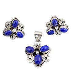 10.96cts natural blue lapis lazuli 925 silver pendant earrings set d47628