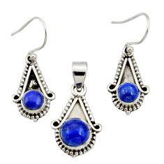 5.43cts natural blue lapis lazuli 925 silver pendant earrings set jewelry r27397