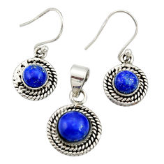 5.63cts natural blue lapis lazuli 925 silver pendant earrings set jewelry r27398