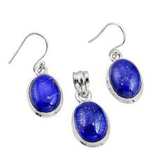 14.82cts natural blue lapis lazuli 925 silver pendant earrings set r20982