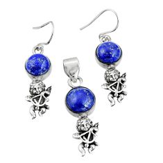 12.83cts natural blue lapis lazuli 925 silver pendant earrings set r20986