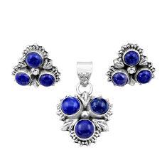 7.06cts natural blue lapis lazuli 925 silver pendant earrings set r42880