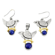 5.93cts natural blue lapis lazuli silver two tone pendant earrings set r20984
