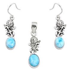 7.40cts natural blue larimar 925 silver angel charm pendant earrings set r70063