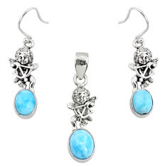 7.62cts natural blue larimar 925 silver angel charm pendant earrings set r70066