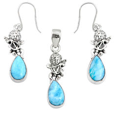 11.24cts natural blue larimar 925 silver angel charm pendant earrings set r70087