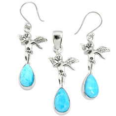 10.48cts natural blue larimar 925 silver angel charm pendant earrings set r70088