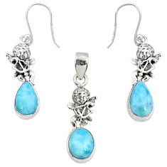 10.23cts natural blue larimar 925 silver angel charm pendant earrings set r70092