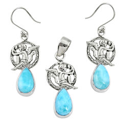 11.56cts natural blue larimar 925 silver angel charm pendant earrings set r70098