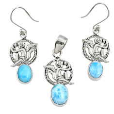 7.85cts natural blue larimar 925 silver angel pendant earrings set r70070