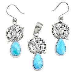 13.34cts natural blue larimar 925 silver angel pendant earrings set r70071