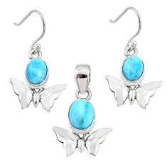 7.51cts natural blue larimar 925 silver butterfly pendant earrings set r70081