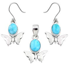 7.76cts natural blue larimar 925 silver butterfly pendant earrings set r70082
