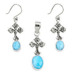 7.37cts natural blue larimar 925 silver cross pendant earrings set r70065
