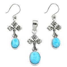 8.27cts natural blue larimar 925 silver cross pendant earrings set r70091