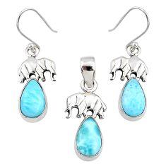 9.62cts natural blue larimar 925 silver elephant pendant earrings set r70086