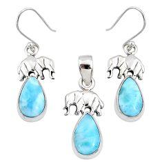10.29cts natural blue larimar 925 silver elephant pendant earrings set r70089