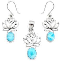 7.66cts natural blue larimar 925 silver flower pendant earrings set r70097