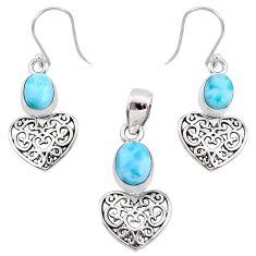 8.03cts natural blue larimar 925 silver heart pendant earrings set r70068