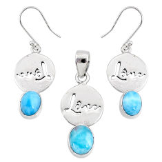 8.23cts natural blue larimar 925 silver love charm pendant earrings set r70073