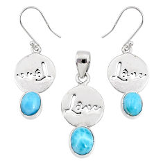 8.23cts natural blue larimar 925 silver love charm pendant earrings set r70074