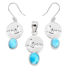 8.40cts natural blue larimar 925 silver love charm pendant earrings set r70075