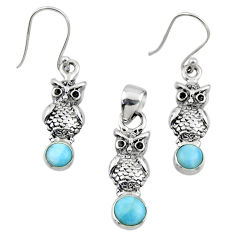 3.01cts natural blue larimar 925 silver owl pendant earrings set r55775
