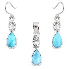 9.39cts natural blue larimar 925 silver owl pendant earrings set r70067