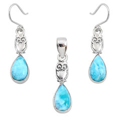9.03cts natural blue larimar 925 silver owl pendant earrings set r70076