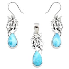 10.74cts natural blue larimar 925 silver unicorn pendant earrings set r70061
