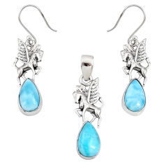 10.74cts natural blue larimar 925 silver unicorn pendant earrings set r70062