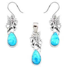 10.74cts natural blue larimar 925 silver unicorn pendant earrings set r70090