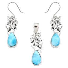 10.74cts natural blue larimar 925 silver unicorn pendant earrings set r70093