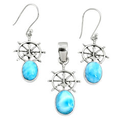 6.84cts natural blue larimar 925 sterling silver pendant earrings set r70079