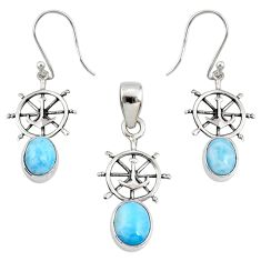 6.84cts natural blue larimar 925 sterling silver pendant earrings set r70094