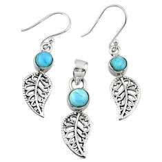 2.77cts natural blue larimar silver deltoid leaf pendant earrings set r55772