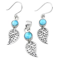 2.78cts natural blue larimar silver deltoid leaf pendant earrings set r55773