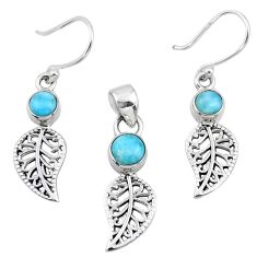 2.77cts natural blue larimar silver deltoid leaf pendant earrings set r55776