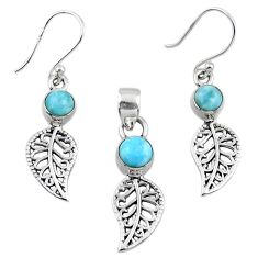 2.89cts natural blue larimar silver deltoid leaf pendant earrings set r55777