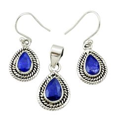 5.63cts natural blue sapphire 925 silver pendant earrings set jewelry r27400