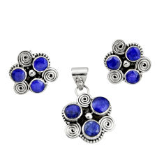 8.89cts natural blue sapphire 925 sterling silver pendant earrings set r20921