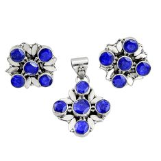 13.03cts natural blue sapphire 925 sterling silver pendant earrings set r20922