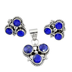 9.18cts natural blue sapphire 925 sterling silver pendant earrings set r20923