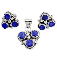 8.98cts natural blue sapphire 925 sterling silver pendant earrings set r20925