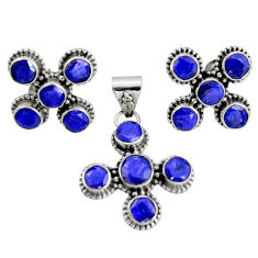 13.03cts natural blue sapphire 925 sterling silver pendant earrings set r20928