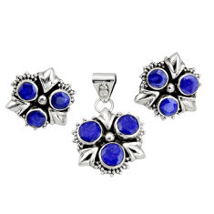9.12cts natural blue sapphire 925 sterling silver pendant earrings set r20929